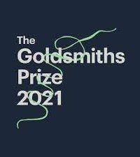 Goldsmiths prize logo featuring white letters on a black background with green thread looping through the words